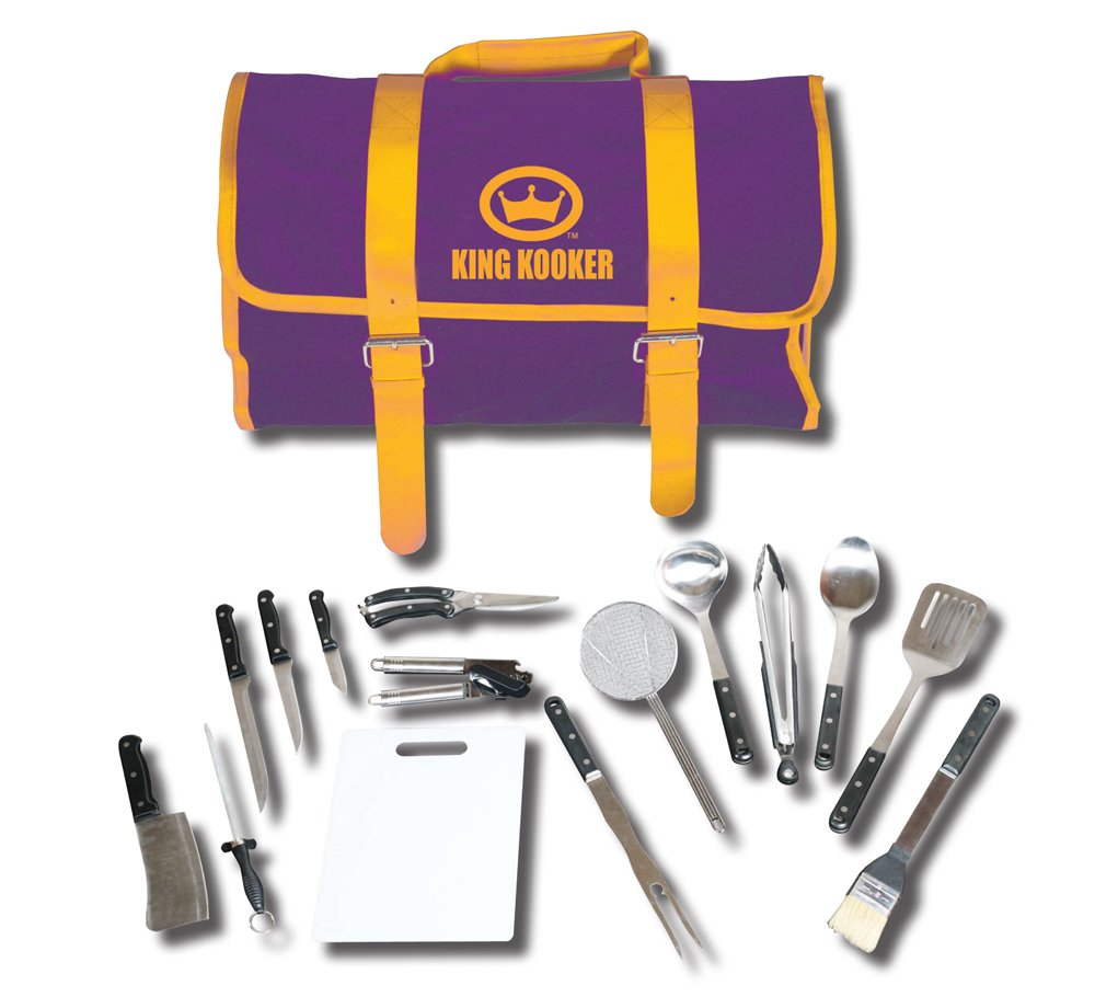 King Kooker 1661 15 Piece Tailgating Utensil Set with Purple and Gold Carrying Case