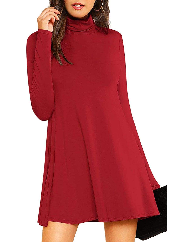b53ab84073a Verdusa Women s Swing Tunic Dress High Neck Long Sleeve Shift Flowy Dress  at Amazon Women s Clothing store