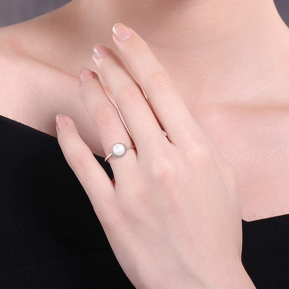 THTHT Women 6Mm Pearl Ring Sterling 925 Silver Rings Round Pearl Charm Concise Silver Ringlet for Woman Jewelry Gifts,7