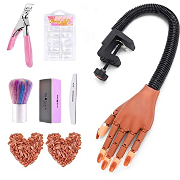 Practice Hand for Acrylic Nails-Flexible Moveable Nail Training Hand Kits, False Mannequin Hands with Fake Nail Tips, Nail Files and Clipper for Acrylic Nail Technician (A-Nail Practice Hand Kit)