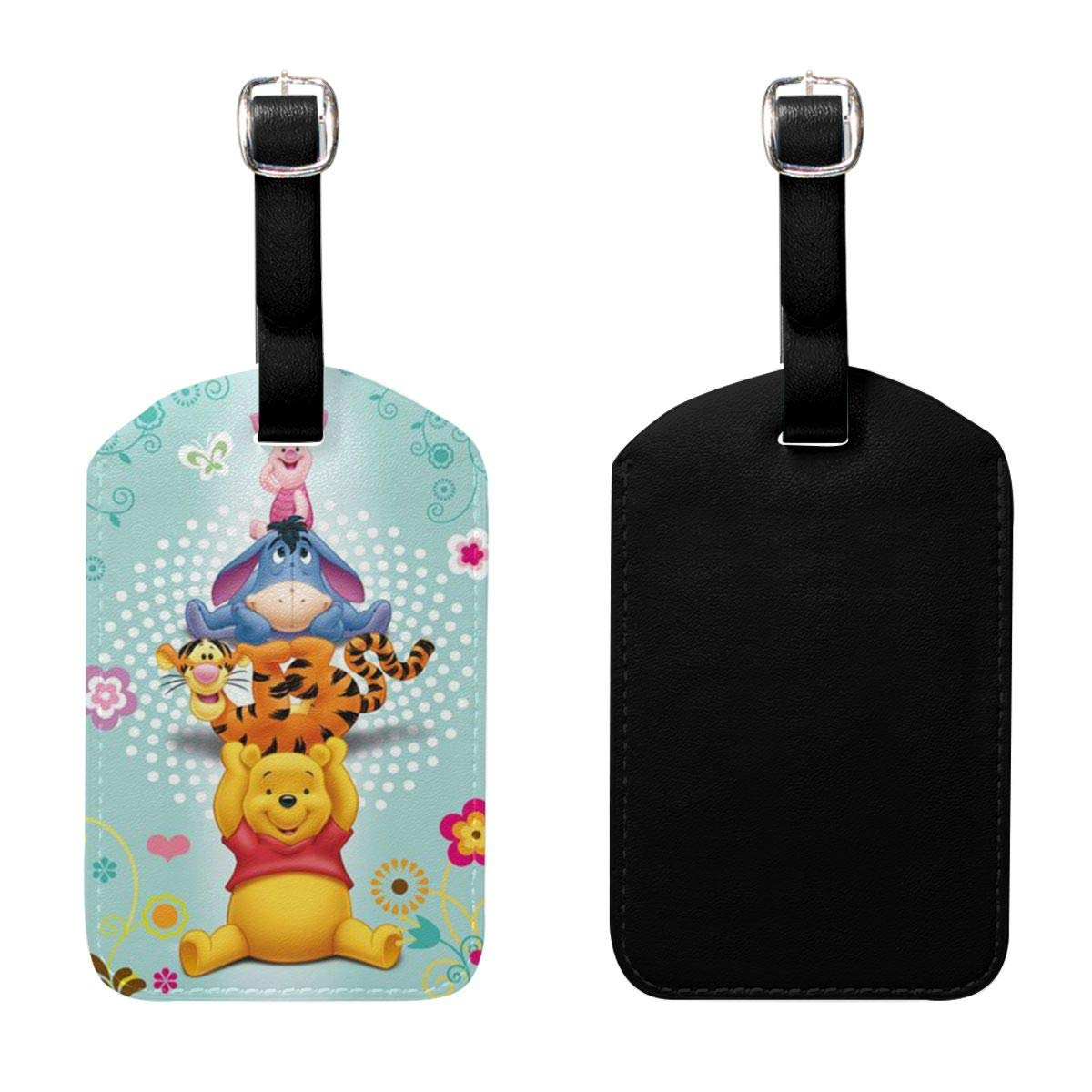 PU Leather Luggage Tags Winnie The Pooh Suitcase Labels Bag Adjustable Leather Strap Travel Accessories Set of 2