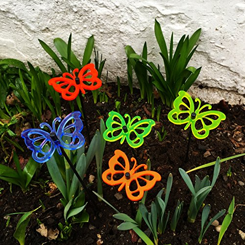 (Suncatcher Set of 5: 'Daisy' Colourful 60mm / 2,36'' Ø Fluorescent Garden Stake )
