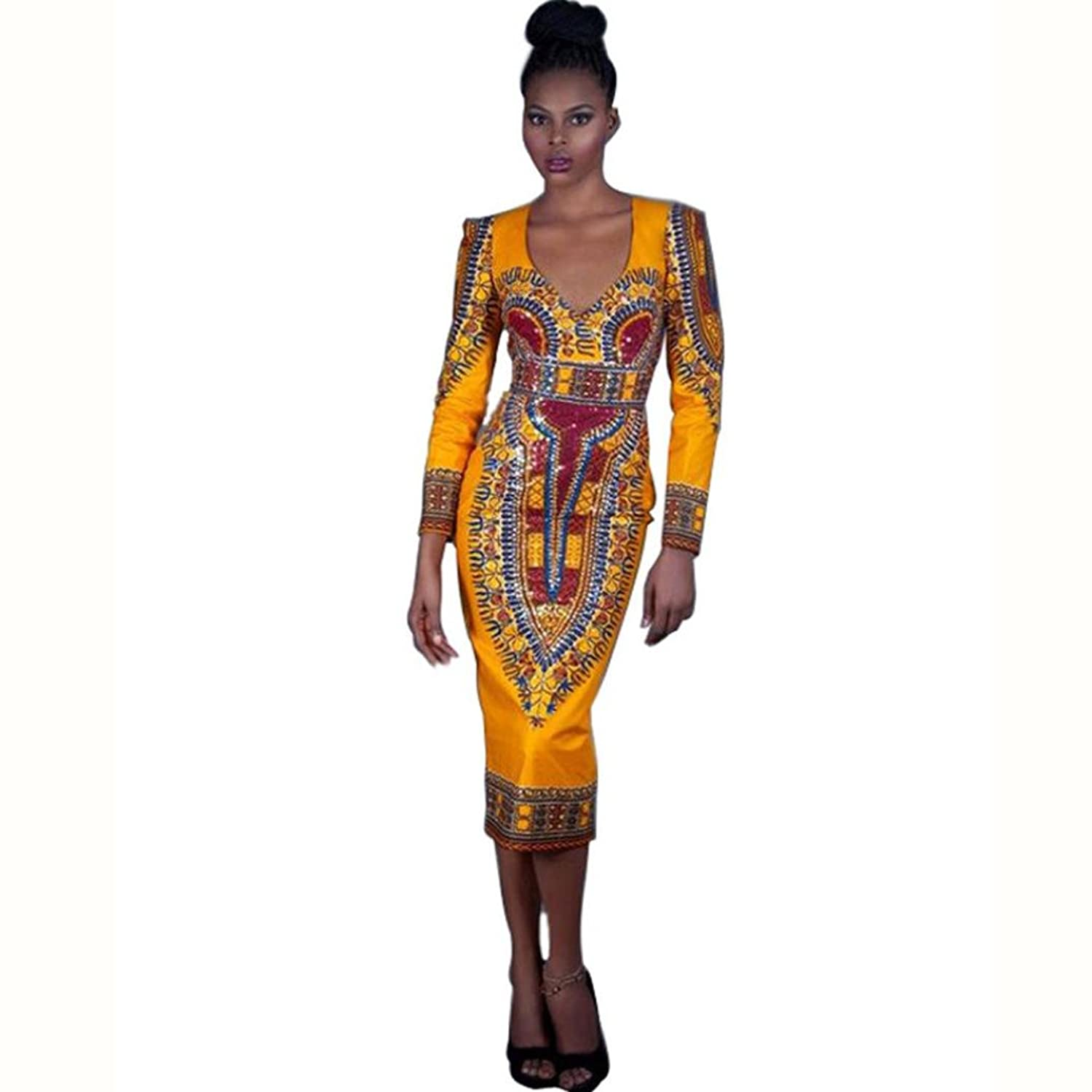 Women Backless Dresses, Franterd Casual Deep V-Neck Traditional African Print Bodycon