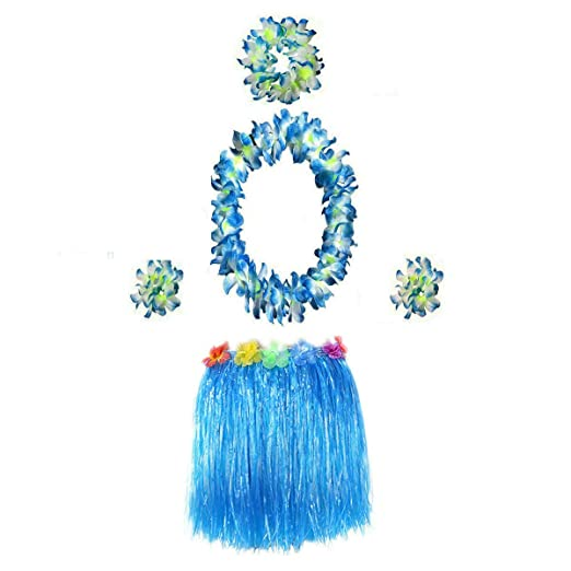 0267259e7459 Hawaiian Luau Hula Grass Skirt with Large Flower Costume Set for Dance  Performance Party Decorations Favors