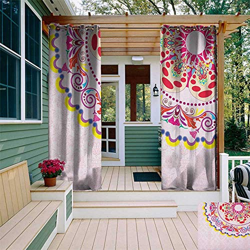 leinuoyi Floral, Sun Zero Outdoor Curtains, Vintage Flower Wreath on Damask Background Flowers Romance Artistic Display Print, Outdoor Patio Curtains W96 x L96 Inch - Bombay Damask