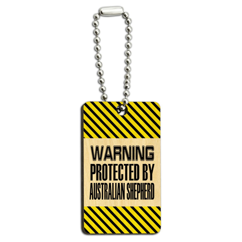 Warning Protected By Australian Shepherd Wood Wooden Rectangle Key Chain