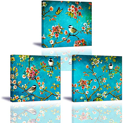 Spring Flowers Canvas Wall Art, SZ 3 Piece Birds on Blossom Branches Picture Canvas Prints, Modern Turquoise/Teal Floral Oil Paintings Reproduction for Bedroom, Ready to Hang, 1