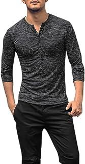 Men Henley Shirt Spring Casual Long Sleeve Collar Button Slim T-Shirt Top Blouse