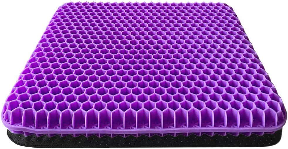 Gel Seat Cushion, Double Thick Gel Cushion for Long Sitting with Non-Slip Cover, Breathable Honeycomb Chair Pads Absorbs Pressure Points for Wheelchair Car Seat Home Office Chairs (16.5x14.5x1.6inch)