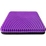 Gel Seat Cushion, Double Thick Gel Cushion for Long Sitting with Non-Slip Cover, Breathable Honeycomb Chair Pads Absorbs…