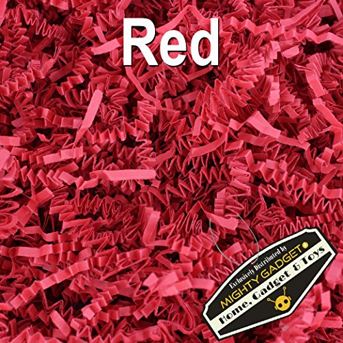 Mighty Gadget (R) 1/2 LB Red Crinkle Cut Paper Shred Filler for Gift Wrapping & Basket Filling (Red Gift Basket)