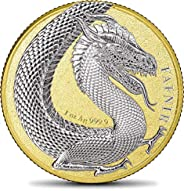 2020 DE Modern Commemorative PowerCoin FAFNIR GEMINUS Dragon Gold Plated 1 Oz Silver Coin 5 Mark Germania 2020