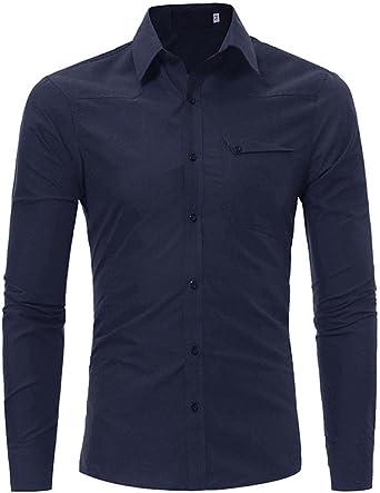 Camisas hombre Slim de manga larga camisas, YanHoo® camisas hombre comprar camisas hombre online Casual para hombre manga larga camisa camisa del negocio (Marina, L): Amazon.es: Iluminación