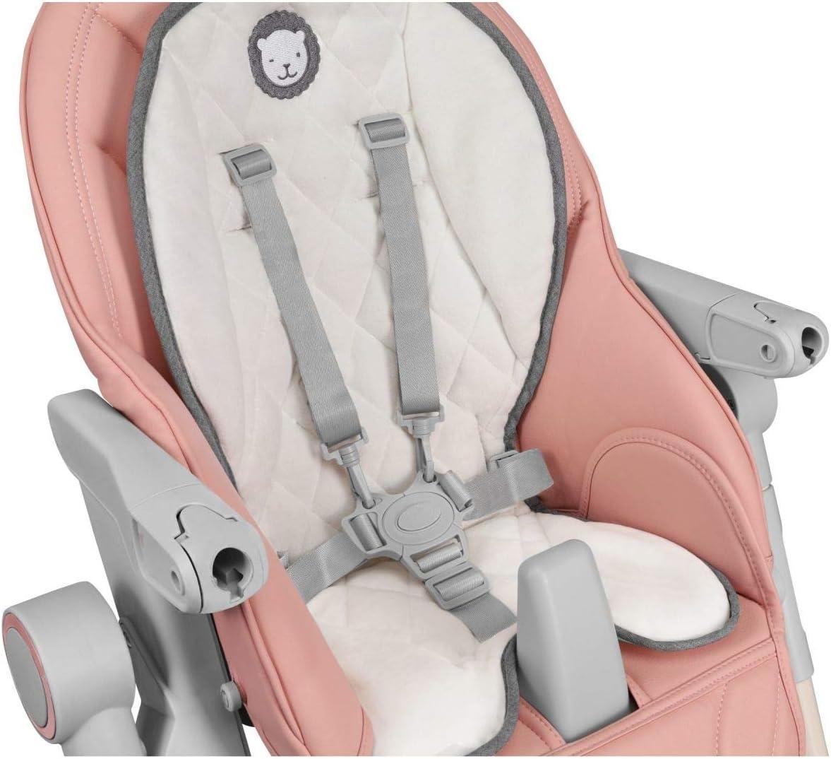 Lionelo Cora Chaise haute r/églable en hauteur avec dossier r/églable pour enfant Rose 15 kg