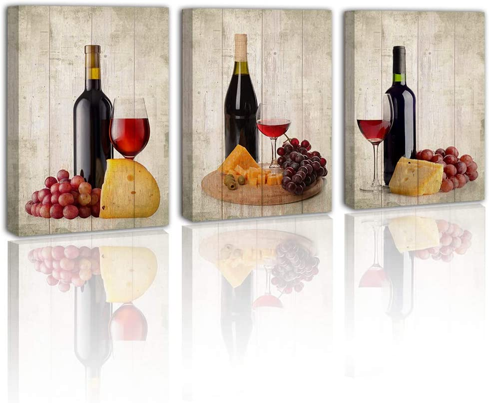 Grape Wine Canvas Wall Art - Home Decor for Dining Room Kitchen Table Centerpieces Painting Vintage Decoration Goblet Fruit Food Print Picture Artwork Modern Posters 3 Piece 12x16