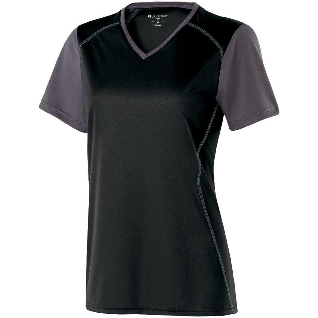 Holloway Ladies Piston Dry-Excel Shirt (X-Small, Black/Carbon)