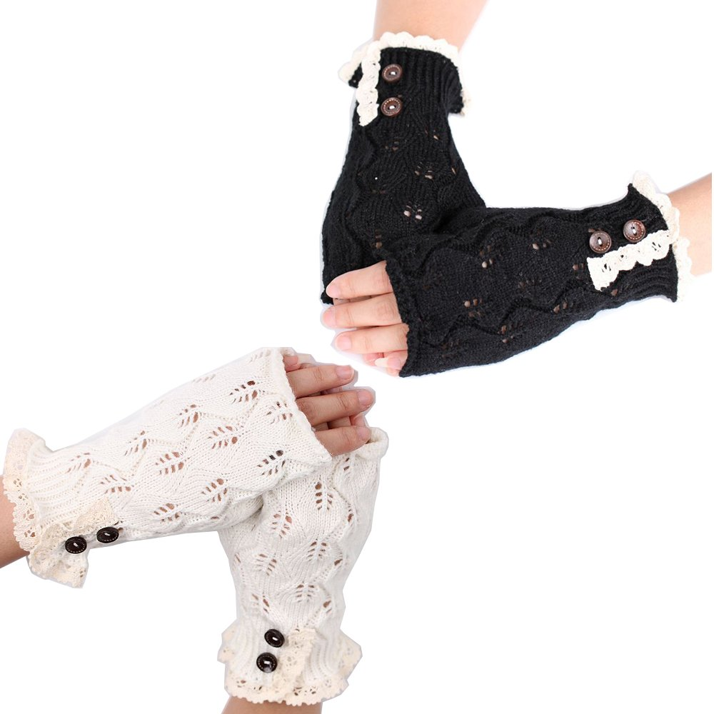 2Pairs Women Lace Knitted Fingerless Gloves Winter Warmer Button Thumb Hole Mittens Flyou