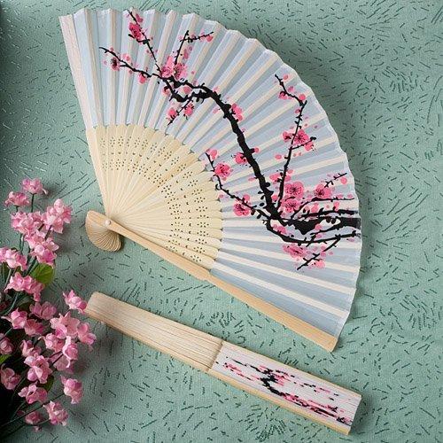 Delicate Cherry Blossom Design Silk Folding Fan Favors