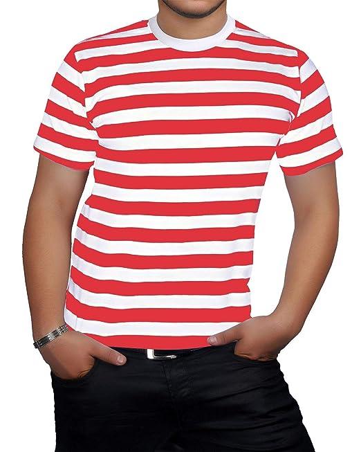 6798428a60 Islander Fashions Hombre de Manga Corta con Cuello Redondo Rayas Camiseta  Adultos Fancy Party Wear tee Top  Amazon.es  Ropa y accesorios
