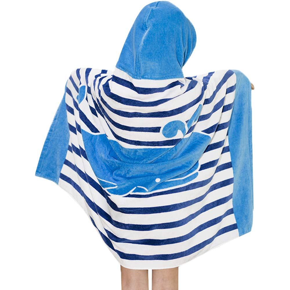Hoomall Kids Bath Towel for Boys/Girls, Whale Pattern Hooded Beach Towel for Swim Pool Fast Drying Ultra Absorbent Poncho for Bath/Pool/Beach Swim Cover ups