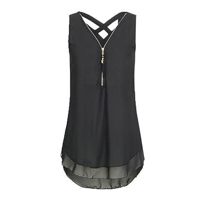 d8b1b02360 HGWXX7 Women Loose Solid Chiffon Plus Size Cross Zipper V-Neck Blouse Tank  Tops (