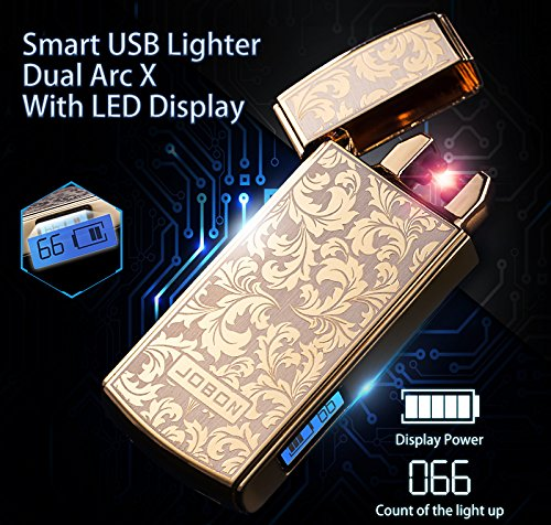 (Jobon Just Shake Can Lighting Your Cigarette Only On ZB-389 Smart Electronic Lighter with Dual Arc X and LED Display Classic Art Design with High Grade Gift Box (Gold Art)