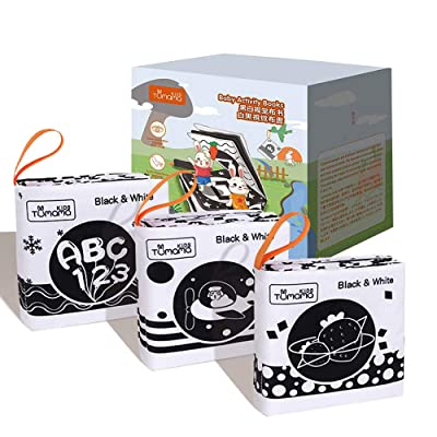 3 Black And White Books for Newborn 0-12 Months, High Contrast Black and White Interactive Crinkle Soft Book for Infant, Baby Early Education for Brain Development Cloth Book Numbers, Letters, Shapes: Toys & Games