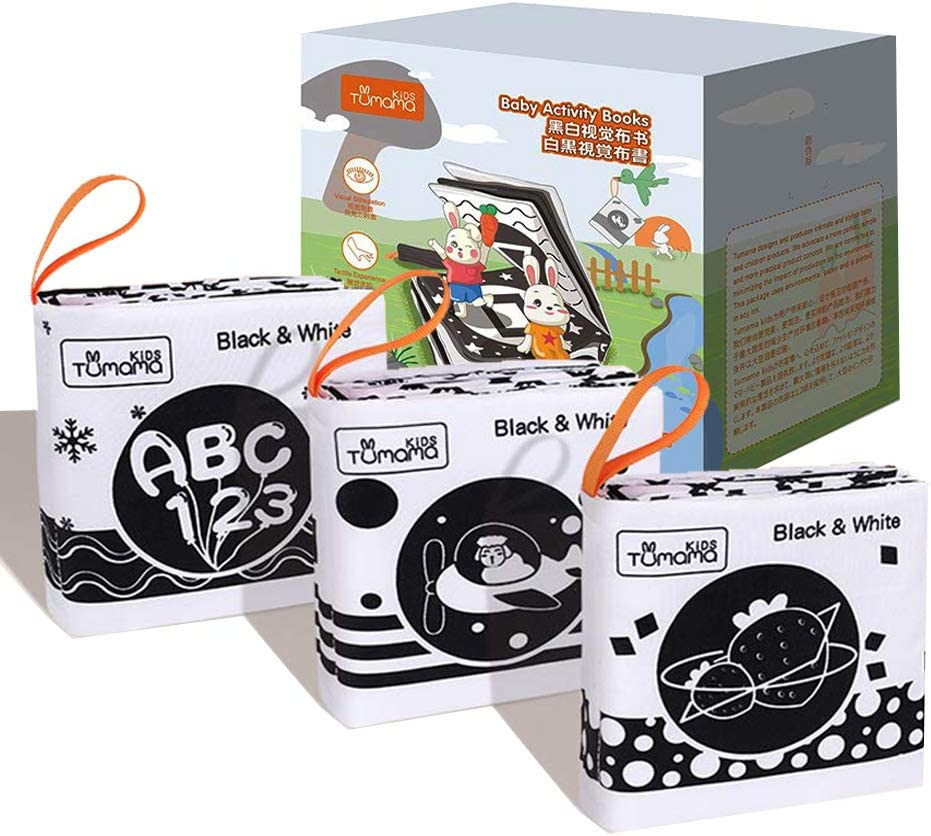 Black And White Books for Newborn 0-12 Months, 3 High Contrast Books for Baby, Interactive Crinkle Soft Book for Infant, Baby Early Education for Brain Development Cloth Book Numbers, Letters, Shapes