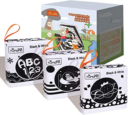 Baby First Soft High Contrast Black And White Crinkle Activity Cloth Book Set ON
