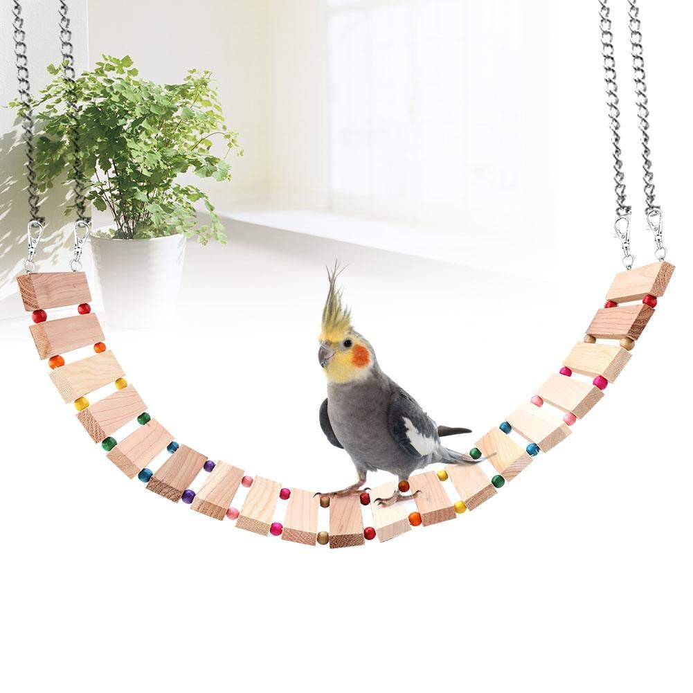 L Wood Hanging Soft Bridge Widen Cage for Parrots Birds Squirrel Pet Ladder Toy