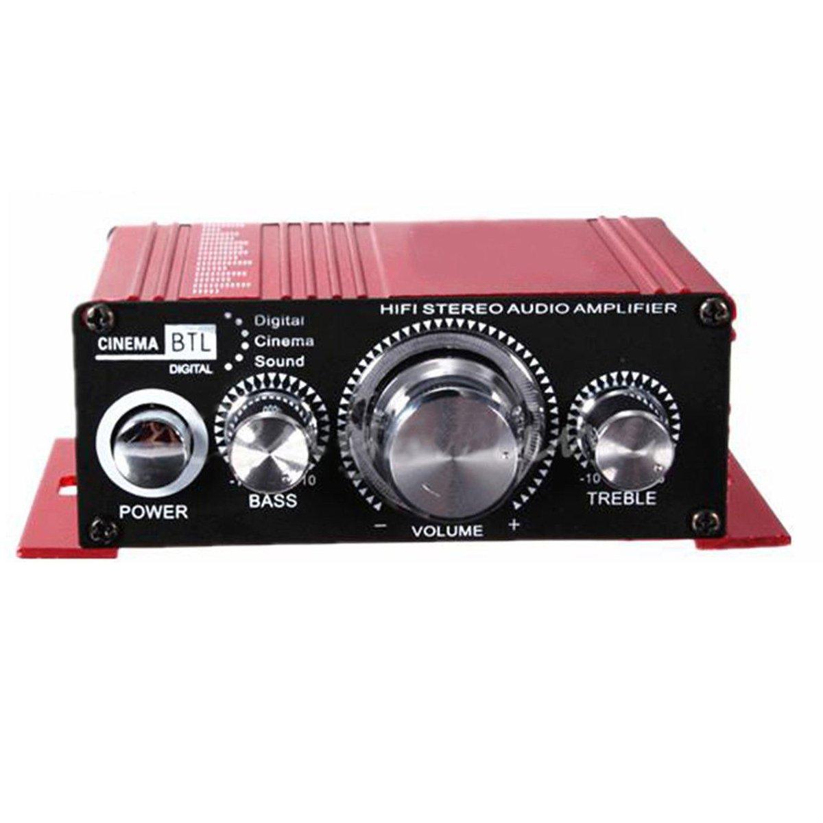 Amplificateur audio - SODIAL(R) 12V Mini Hi-Fi Amplificateur audio Booster MP3 stereo pour maison Auto Moto Bateau 62282