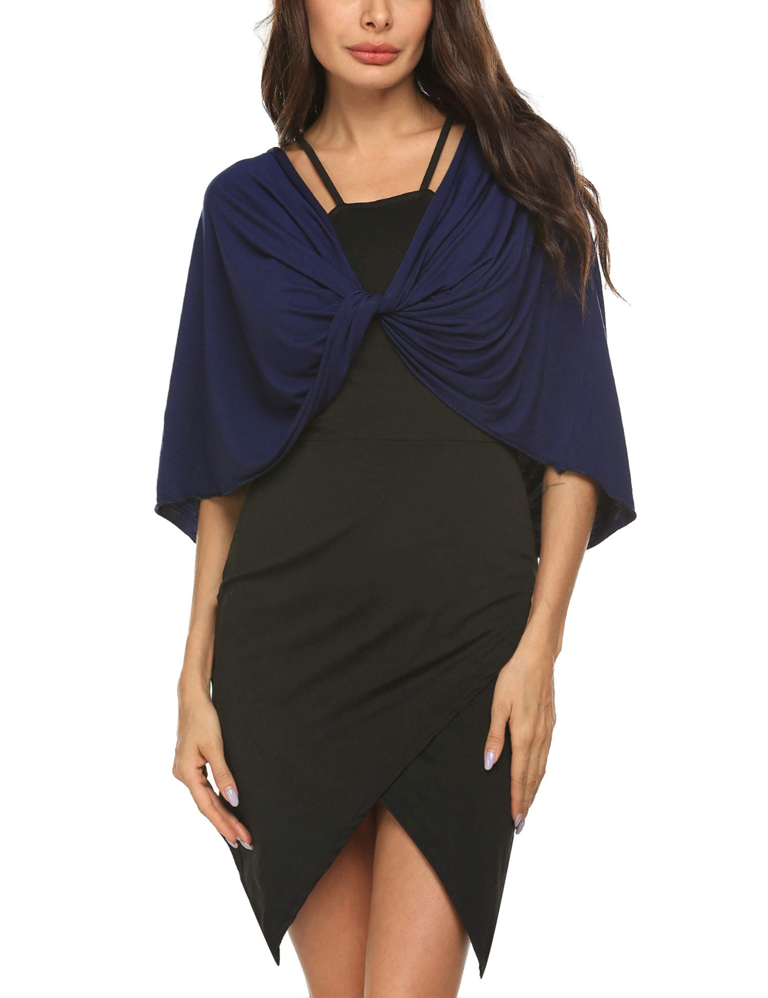 Zeagoo Women's Short Sleeve Shrug Open Front Cardigan Bolero Top Navy Blue