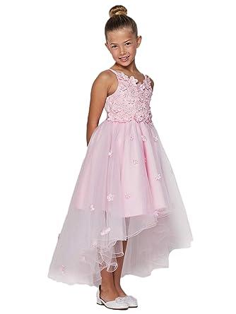 dbd01de0a45 Cinderella Couture Big Girls Pink 3D Floral Applique Hi-Low Tulle Junior  Bridesmaid Dress 8