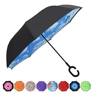 Paraguas reversible AmaGo con doble capa y con un mango con forma de C para que