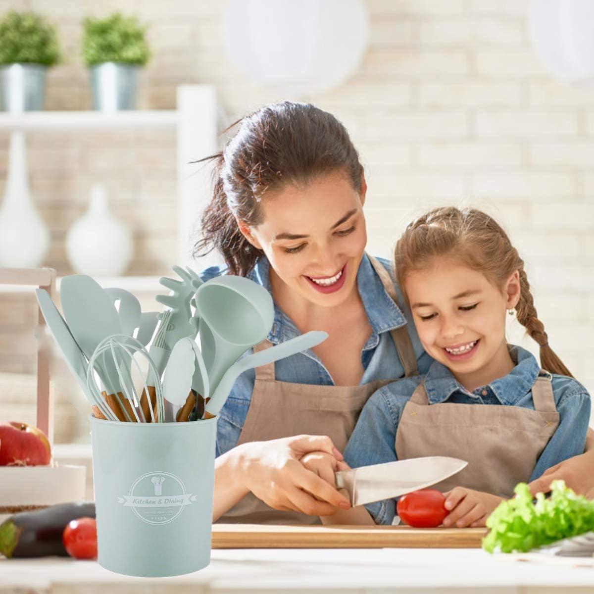 SaiXuan Utensilios Cocina de Silicona,Antiadherente con Mango de Madera para Utensilios,No T/óxicas Resistentes Al Calor Utensilios De Cocina Antiadherente 12 Piezas+12 S Ganchos