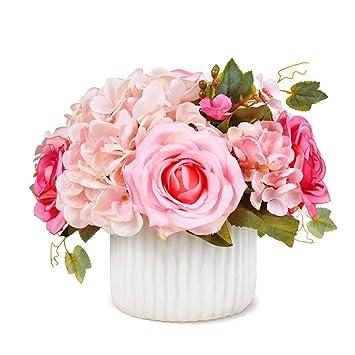GWM Flores Artificiales, Falso Toque Real Flores de Seda de plástico, Rosas, para la decoración de la Boda de la Fiesta en el jardín, Rosa: Amazon.es: Hogar