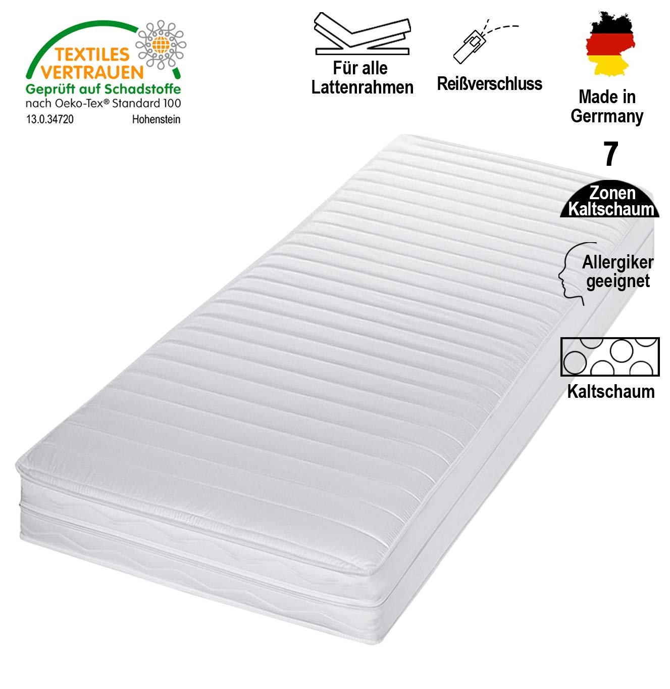 Cpt hydrovital Kaltschaummatratze - 7 Zonen Matratze - Härtegrad H2 H3 - Rollmatratze - Made IN Germany (80 x 200 x 16 cm, H2)