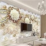 300cmX210cm Large Custom Wallpaper 3d Luxury Gold White Flower Soft Bag Ball Jewelry TV Living Room Bedroom Study House Decoration,300cmX210cm
