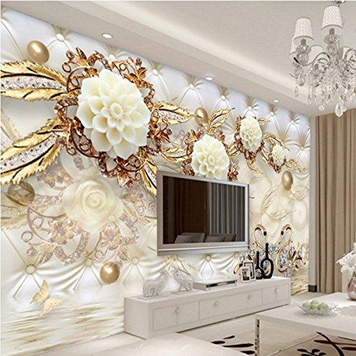 300cmX210cm Large Custom Wallpaper 3d Luxury Gold White Flower Soft Bag Ball Jewelry TV Living Room Bedroom Study House Decoration,300cmX210cm by ZLJTYN