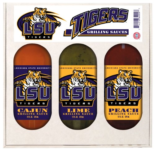LSU Tigers NCAA Grilling Gift Set (12oz Cajun, 12oz Lime, 12oz Peach)