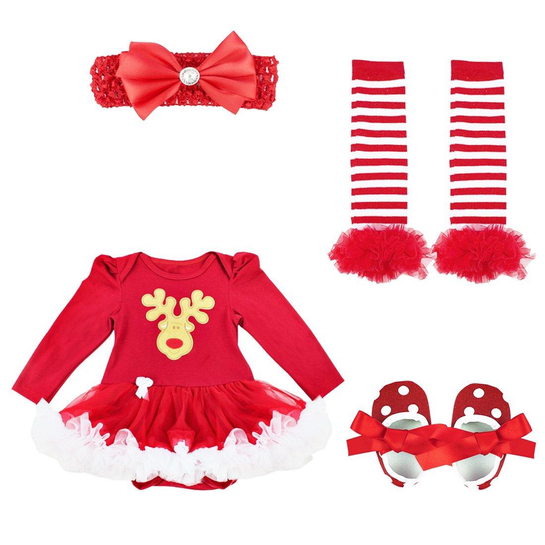 9389d055ed45c Freebily 4 pcs Déguisement Enfant Bébé Fille Barboteuse à Manches Longues  Bandeaux Jambières Chaussures Ensemble Tenues Noël ...