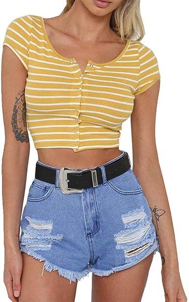 Honghu Mujeres Sexy Crop Top Camiseta de Manga Corta con Rayas Delgadas Camisa Corta Botón Camisetas: Amazon.es: Ropa y accesorios