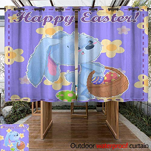 (RenteriaDecor Outdoor Balcony Privacy Curtain Greeting Post Card Printable Template Happy Easter with Cute Cartoon Bunny Holding Easter Eggs on a Green Background wit W55 x L72)
