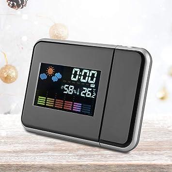 Digital LED USB Alarma Temperatura del Reloj Tiempo Pronóstico ...