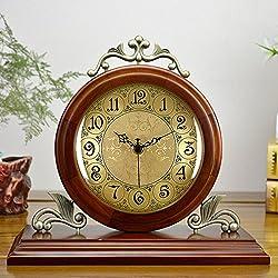 Graces Dawn 11'' Desk Clocks Solid wood metal clock Classic retro Mute quartz clock