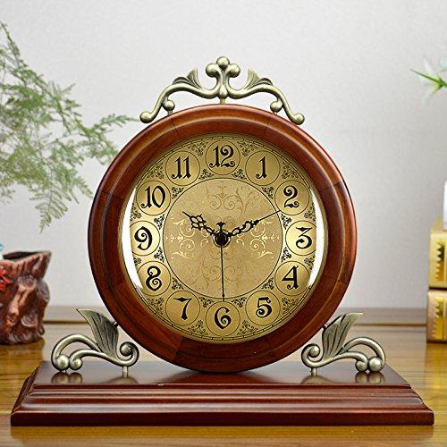 Metal Quartz Clock Desk (Graces Dawn 11'' Desk Clocks Solid wood metal clock Classic retro Mute quartz clock)