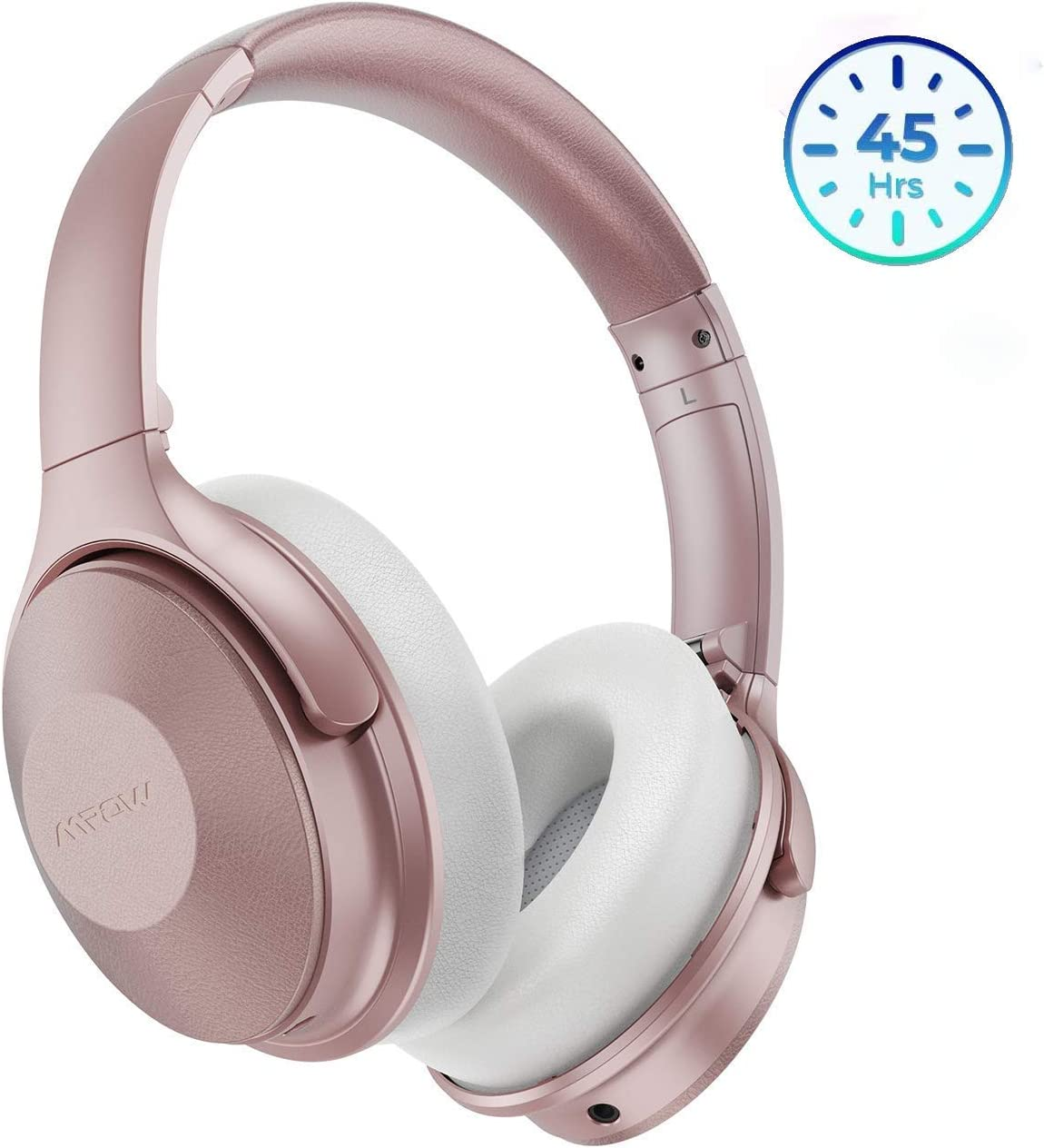 Mpow Pink Active Noise Cancelling Headphones, 45H Playtime Bluetooth Headphones Over Ear, Built-in Mic