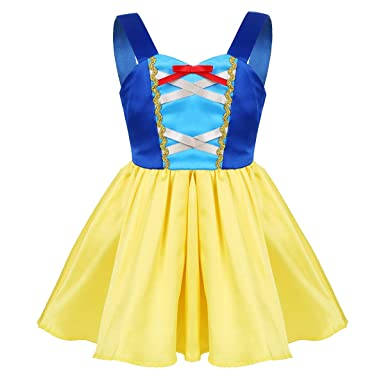 TiaoBug Baby Girls Fairy Tale Sweetheart Princess Costume Halloween Cosplay Theme Party Fancy Dress Yellow&Blue 12