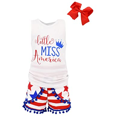 11a5ac753105 Unique Baby Girls Little Miss America 3 Piece 4th of July Outfit (3T/S