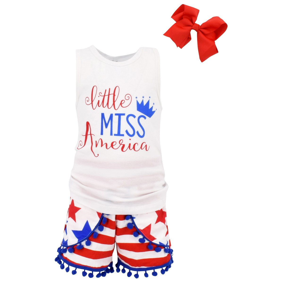 Unique Baby Girls Little Miss America 3 Piece 4th of July Outfit (6/XL)
